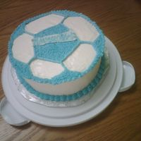 Blue Soccer Ball Cake this was a cake i made for a friend of mine,he always joked that i should make his birthday cake but i was unable to so i made him one...