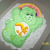 Care Bear this is a marble cake with butter cream icing . the little ones loved it.