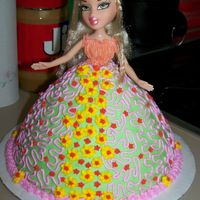 Bratz Doll Cake This is a chocolate cake and buttercream icing it was fun !