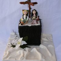 Kyliee.jpg  Here is my latest cake. The bride wanted herself and future hubby in their Bridal gear wearing their back packs. They meet in Malaysia...