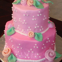 "A ""girly Cake"" French Vanilla with a fluffy cheesecake filling, iced in buttercream. Decorations done in fondant."