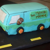 Scooby Doo Mystery Van French Vanilla Cake with Strawberry Mousse filling. Covered in fondant and decorated with fondant.