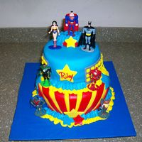 Justice League Super Heroes Cake   Made for my son's 5th birthday. All fondant, chocolate cake with vanilla BS icing.