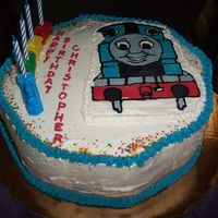 Thomas The Tank My first buttercream transfer. I hope the next one will be better, although I'm happy with the results.