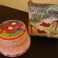 Small Gift For A Shoe Lover MMF covered cake, hand painted, buttercream shoe. cake is 5''diameter & 3'' tall.