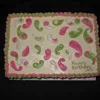 Lily Pulitzer Inspired Cake For a dear friend who loves Lily clothing! Pink and green paisley fondant cut-outs