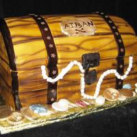 Treasure Chest Sculpted cake covered in fondant, textured and airbrushed.