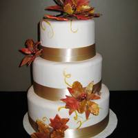 Fall Wedding Cake Sugar leaves, twigs and berries all airbrushed and handpainted with luster