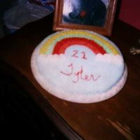Rainbow Cake This cake was done as a class project for my fist cake decorating class. I just had to put my son's name on it. He was so surprised....