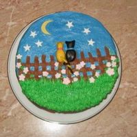 Sixth Anniversary Cake  Thanks to Eight for the inspiration for this cake. I made this for DH for our anniversary. Chocolate cake with chocolate frosting...