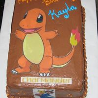 Pokemon Cake  Granddaughter requested this pokemon character for her birthday cake. Put several small images around the sides. She was a happy camper. I...