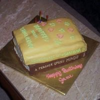 Stacked Book Cake  All buttercream which was quite a challenge for this type cake. The top cake imploded after I got it stacked. At least it will taste good...