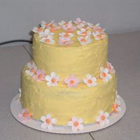 Spring Birthday Cake First time playing with gumpaste, made some daisies. This is just a practice cake.