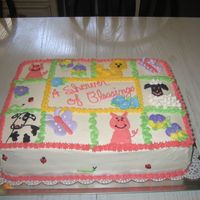 Farm Animal Baby Shower Baby shower cake for a shower with farm animals as the theme. Buttercream, except the flowers and butterflies are royal. 1/2 strawberry...
