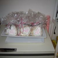 Julie's Shower Cookies Heart shaped sugar cookies, Royal Icing, and I used the Wilton Food Writer markers for the decoration.