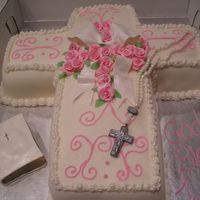 Jenna Communion 12 X 18 lemon cake 3 layer torted . covered in bc and mmf-bc piping and border. gumpaserosary , bible,boe and roses