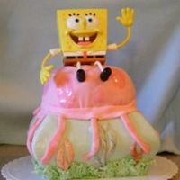 Spongebob Jellyfishing It was a cake for a family member, I'm still learning, but I like how this came out, plus I actually got my marshmallow fondant to...