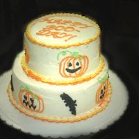 Halloween Birthday Cake This was my 2nd smooth BC attempt, my 2nd piping experience, and my first tiered experience. The tiers are 1/2 chocolate and 1/2 white (...