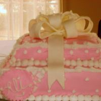 Very Pink 1St Birthday A present cake based off a picture the client sent me for a first birthday cake. Did a smash cake to match. All MMF, covering cake and the...