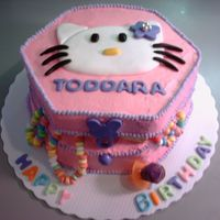 Hello Kitty Jewelry Box  This cake was done all in buttercream w/ fondant Hello Kitty and lettering. It was heck transporting this cake!!! Must find a better way to...