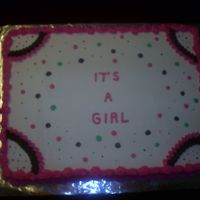 Girl Baby Shower Cake All buttercream with different color polka dot.
