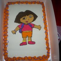Dora Dora birhtday cake using the pinprick method.