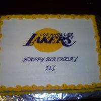 Lakers Cake Cake for a teen boy who loves the LA, Lakers. All buttercream frosting.