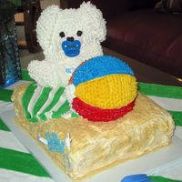 Beach Bunny Baby  This was the cake I made for my daughter's baby shower. Used Wilton's large bear pan and large ball pan. Used buttercream...