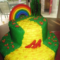 Wizard Of Oz Cake  Wizard of Oz cake for my daughters 5th birthday, all buttecream with rainbow done in color flow, shoes were chocolate, emerald city was...