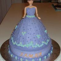 Doll Cake I made this cake for a co-worker's daughter's birthday. Her favorite colors are purple & aqua. I used buttercream and...