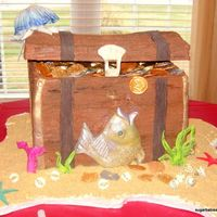 "Treasure Chest for my daughters 5th birthday party with the theme of ""scalawags and scales"" (pirates and mermaids). triple fudge chocolate cake..."