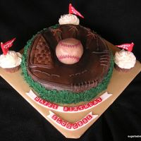 3 Sluggers  cake for a client who was celebrating her son's birthdays, along with the grandfathers. all 3 like baseball, so she requested a...