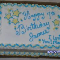 Boy's Star Birthday Cake   Vanilla butter cake and Indydebi's buttercream icing. A birthday cake for a 7 yr old boy. TFL.