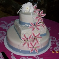 Wedding Cake This is my first fondant wedding cake! I'm so please with how it turned out. The cakes are vanilla butter cake with Indydebi's BC...