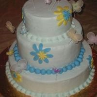 Whimsical Reception Cake With Flowers And Butterflies