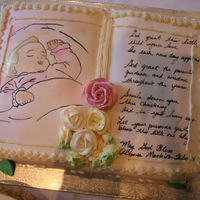 My Daughter Baptism Cake My 1st attempt at making a baptism bible cake. It came out pretty well. I am very happy with it, next time I will try to make the writing a...