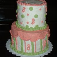 Nieces 8Th Birthday layered vanilla cake with BC icing. Made to match strawberry shortcake candle.