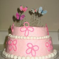 Beautiful Butterflies  I made this cake for one of my best friends, it was her 26th birthday. She LOVES butterflies and the color pink. The balls are mmf, and the...