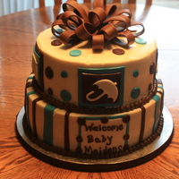 Baby Shower This cake turned into a nightmare...the humidity made the icing so soft and the fondant was sticky. I hoped it would have turned out better...