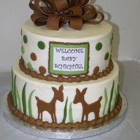 Fawn Baby Shower Cake  Baby shower cake for a friend. The fawns and polka dots go with the baby bedding and bedroom set. The top tier is WASC with strawberry...
