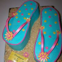 Flip Flop These were for a beach theme bridal shower. One was Lemon WASC cake, with raspberry filling. The other was Chocolate WASC cake, with...