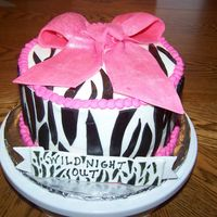 Zebra Stripe Bachlorette Cake   This was a cake for a bachlorette party. Chocolate Kahlua cake with Kahlua filling.