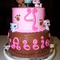 Littlest Pet Shop WASC top tier and Chocolate Fudge bottom tier. Fondant letters.