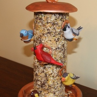 Bird Feeder  This cake is made of rice krispie treats mixed with chocolate jimmies, peanut butter chips and yellow sprinkles, to look like birdseed. The...