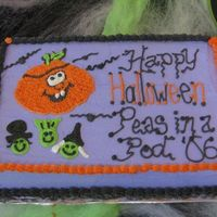 Peas In A Pod Halloween Party! Last minute cake I did for my daughters' playgroup, Peas In A Pod. Tried to incorporate that with the pathetic looking peas under the...