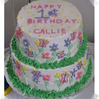 Callie's First Birthday! Did this cake for a friend of mine. Her little girl was turning one, and she saw a cake on here that she liked. I changed it up a bit, but...