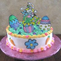 Easter Bunny   Whip cream frosting w/ color flow accents.