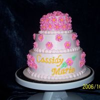 "Baby Cassidy's Cake three round cakes 4"", 6"" and 8"" frosted with pink tinted butter cream frosting. FLowers used #2D tip and letters used #3 tip..."