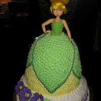"Tinkerbell Doll Cake the dress was made with the pampered chef batter bowl with an 8"" cake stacked underneath. a 10"" cake serves as the base. i got..."