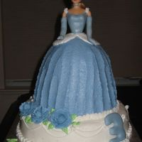 "My First Doll Cake I made this ""Cinderella""-like doll cake using the Pampered Chef batter bowl. The bodice, gloves & number ""3"" are..."